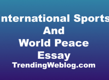 International Sports Events Help In World Peace Essay