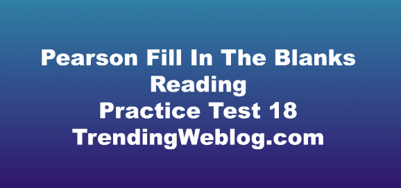 Pearson Fill In The Blanks Reading