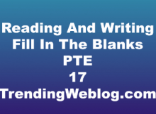 Reading And Writing Fill In The Blanks PTE