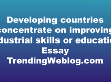 Developing countries concentrate on improving industrial skills or education